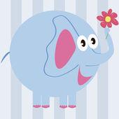 éléphant de dessin animé avec une fleur — Vecteur
