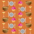 Background set of drinks and food on a brawn — Photo