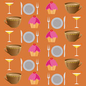 Background set of drinks and food on a brawn — Stock Photo