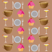 Background set of drinks and food on a brown — Stock Photo