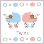 Card for newborn twins with kids — Stock Photo