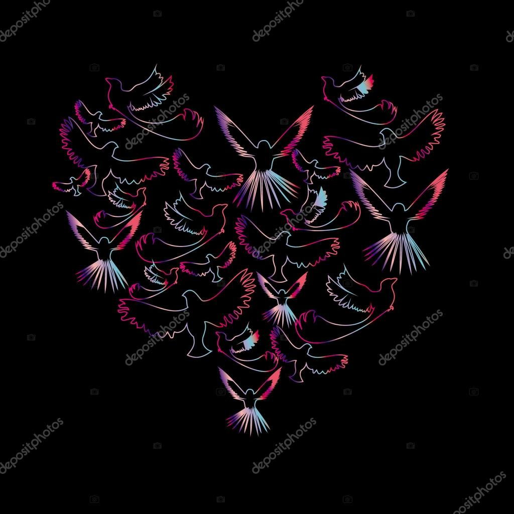 Card with birds in the outline of the heart, love, vector  Photo #13711780