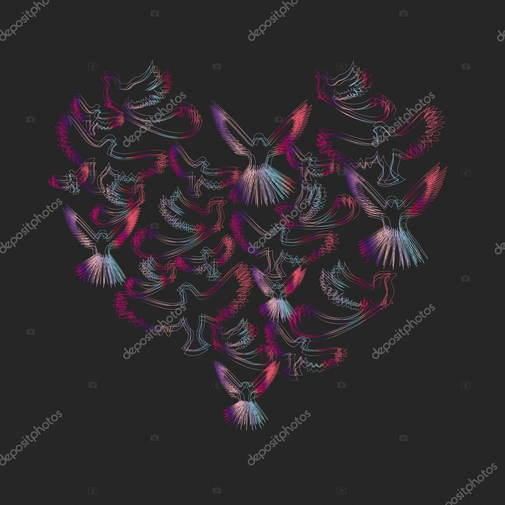 Card with birds in the outline of the heart, love, vector  Stock Photo #13711784