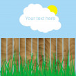 Stock Vector: Fence, wood, grass, cloud, sun, sign here your text