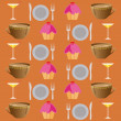 Stock Vector: Background set of drinks and food on brawn