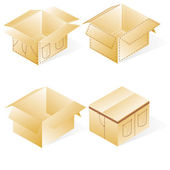 Boxes, cardboard for jeans or pants packing, set with denim lin — Stock Vector