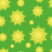 Seamless pattern with green and yellow flowers — Stock Vector