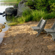 Place for summer rest on a lake — Stock Photo