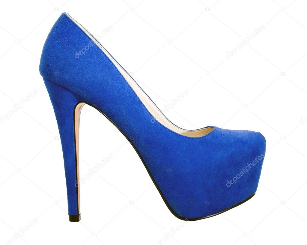 Blue high heel shoe isolated — Stock Photo #12852248