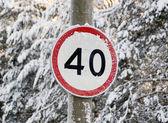 Signe de la vitesse limite sur une route forestière — Photo