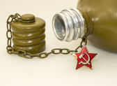 Military canteen and asterisk of USSR soldier — Stock Photo