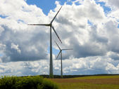 Wind turbine on the cornfield — Foto Stock