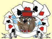 玩卡和牛头犬 — 图库矢量图片