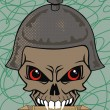 Vector illustration of a skull wearing a viking helmet. — Stock vektor
