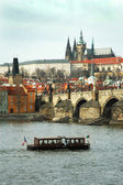 Prague. View on St. Vitus cathedral and Charles bridge — Stock Photo