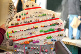 "Souvenirs - handmade earrings. Central square ""Market"" in Krakow — Stock Photo"