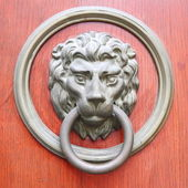 Door handle in the form of a lion — Stock Photo