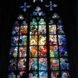 Gothic stained glass window in Saint Vitus cathedral, Prague, Cz — Stock Photo