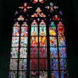 Stock Photo: Gothic stained glass window in Saint Vitus cathedral, Prague, Cz