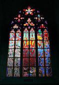 Готический Витраж в собор Святого Вита, Прага, Чехия — Стоковое фото