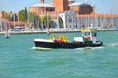 A launch on a canal in Venice near San Giorgio Island, Italy — Stock fotografie