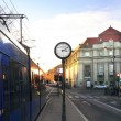 Royalty-Free Stock Photo: Clock at twilight at a tram station in Prague, Chezh republic