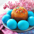 Stock Photo: Easter cake and eggs
