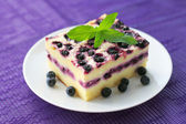 Baked cottage cheese pudding with blueberries — Stock Photo