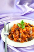 Aubergine stew with onions and tomato — Stock Photo