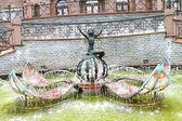 фонтан со статуей фея — Стоковое фото