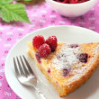 Almond tart with raspberries and white chocolate — Stock Photo