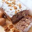Banana cake with walnuts and dark chocolate — Foto Stock