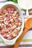 Preparing chicken breast and cauliflower casserole — Stock Photo