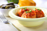 Meatballs with rice and tomato sauce — Stock Photo
