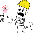 Stock Vector: Square guy-occupational accident