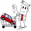 Royalty-Free Stock Vector Image: Square guy-buying a car