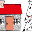 "Square guy -Drawing ""home"" — Vector de stock #25480609"