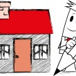 "Vector de stock : Square guy -Drawing ""home"""