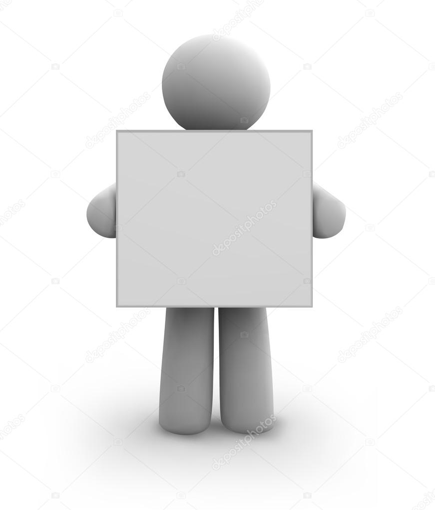 Vector white human with blank board. eps8 illustration — Stock Vector #14562169