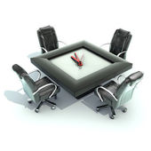 Meeting time - table with a large clock — Stock Photo