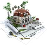 visualización, arquitectura dibujo y casa diseño progreso — Foto de Stock   #24353285
