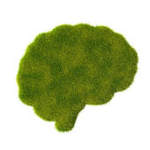 Grass brain icon — 图库照片