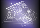 Wireframe building over blueprint — Stock Vector
