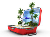 Open baggage, vacation concept — Stock Photo