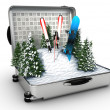 Royalty-Free Stock Photo: Suitcase ski and snowboard with snow inside