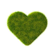 Green grass heart. Isolated on white. — Stock Photo