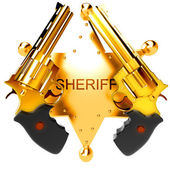 Golden revolver gun — Stock Photo