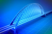 Wireframe 3d render of a bridge — Stock Photo