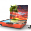 Open suitcase with tropical island at evening — Stock Photo #26906825