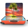 Open suitcase with tropical island at evening — Stock Photo